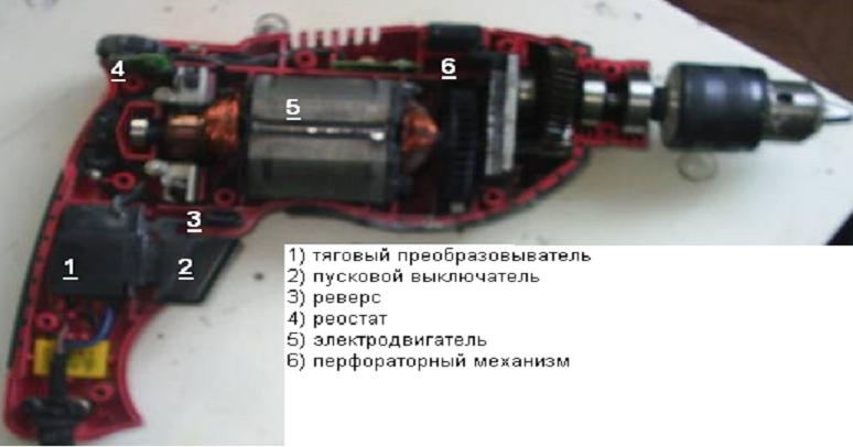 Схема электронного регулятора мощности дрели.