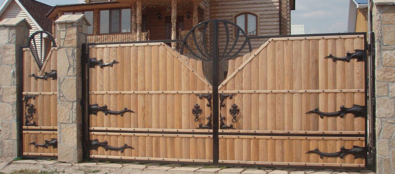 Деревянные ворота с калиткой фото