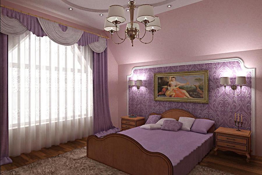 Фото дизайн поклейки обоев в спальне